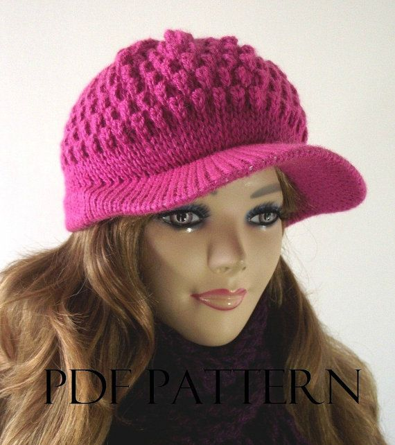 KNITTING HAT PATTERN Newsboy Hat Knitted Hat by LiliaCraftParty