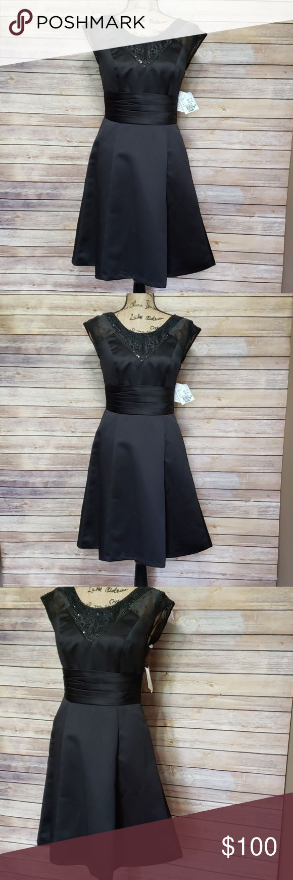 David's Bridal Satin Classic Style formal Dress This black dress is a size 4... 7