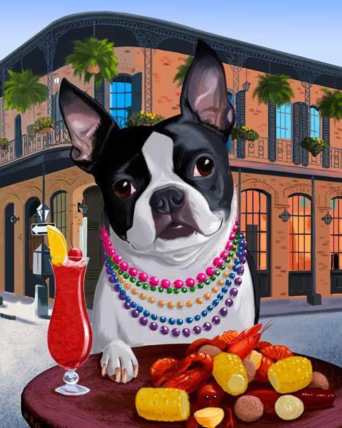 Boston terrier art New Orleans  Boston Terrier Dog by rubenacker
