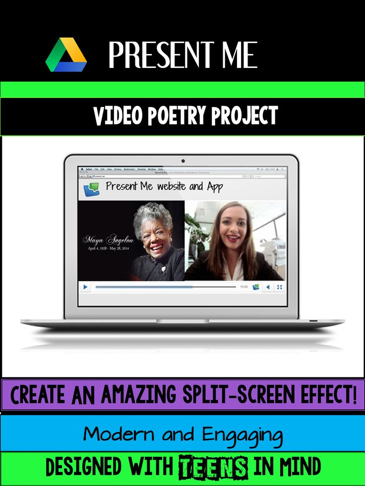 Engage your students with the Present Me Digital Poetry Project! Students select a poem, illustrate it with images in Google Slides, and record themselves reading the poem while showcasing their slide presentation. The free user-friendly Present Me website creates an amazing split screen effect! Great project for National Poetry Month or for any time that you teach poetry to your students!
