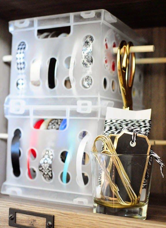 #DIY $3 Craft Ribbon Storage with Built In Dispenser