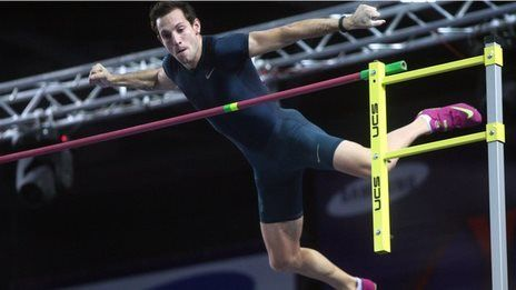 Raymond Lavillenie breaks Sergey Bubka's Pole vault record in Donetsk in February 2014