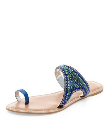 Blue Leather Beaded Sandals