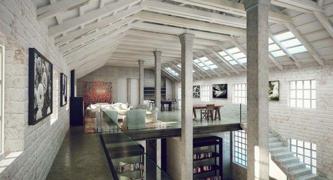 Contemporary Home Design, Contemporary Second Floor Ustrial Style Interior: Industrial Furniture Design to Fill the Interior Design