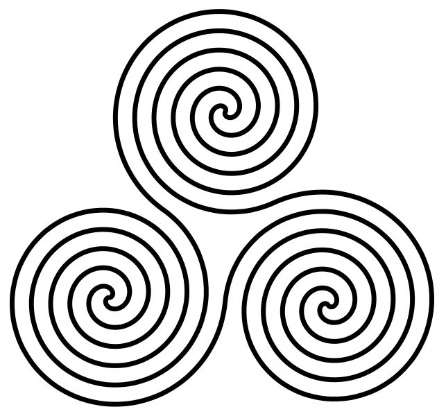 The Triple Spiral symbol, based on motifs found at the prehistoric site at Newgrange, Ireland, and used as a neo-pagan or Triple Goddess symbol. This version is made up of mathematical Archimedean spirals. The Celtic symbol of three conjoined spirals may have had triple significance similar to the imagery that lies behind the triskelion. Newgrange which was built around 3200 BCE predating the Celtic arrival in Ireland but has long since been incorporated into Celtic culture.