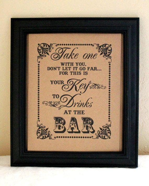 8 x 10 mariage signe-Bar signe - signe de faveurs de coupe - Mason Jar Favor - boire Sign-boisson billet signe-Single feuille de verre Favor (Style : BAR clé) on Etsy, 7,55€