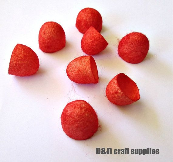 Dyed silk cocoons red set of 8 halves by OandN on Etsy, $3.90  #beads #jewelrysupplies #craftsupplies #silkcocoons