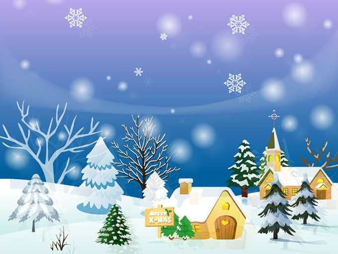 Christmas Town Background Or Winter Landscape - FREE