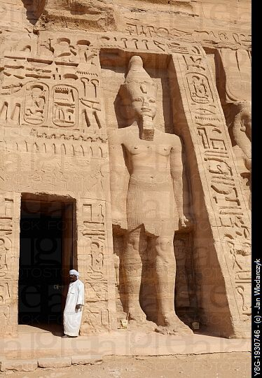 The entrance to the Nefertari Temple, Abu Simbel temple complex located on the Nasser Lake, Lower Nubia, Egypt