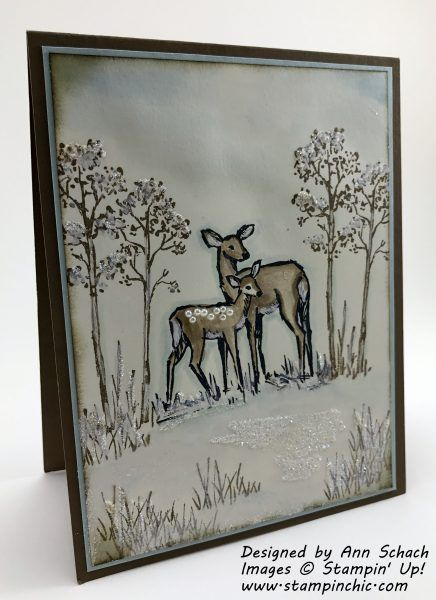 A card created using Stampin' Up!'s In the Meadow stamp set. It features the faux water coloring technique. Depending upon the sentiment, it could be used for almost any occasion: a winter birthday, friendship, sympathy, Christmas card.