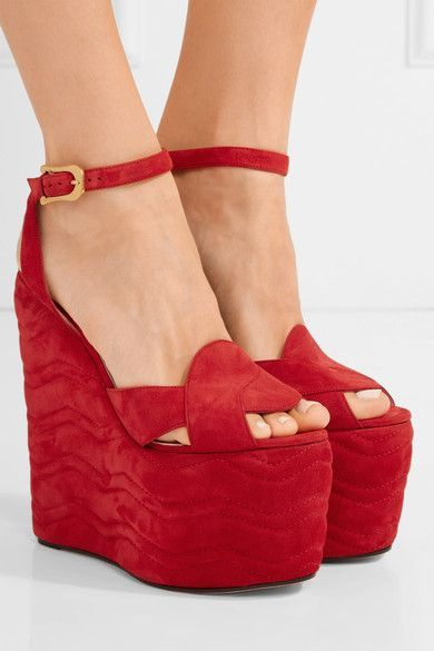 Wedge heel measures approximately 155mm/ 6 inches with a 95mm/ 4 inches platform Red suede Buckle-fastening ankle strap Made in Italy