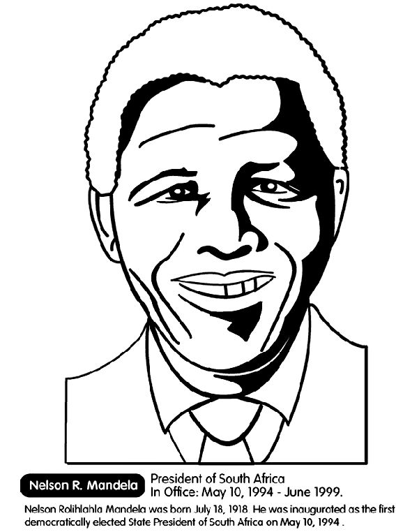 South Africa President - Nelson Mandela coloring page