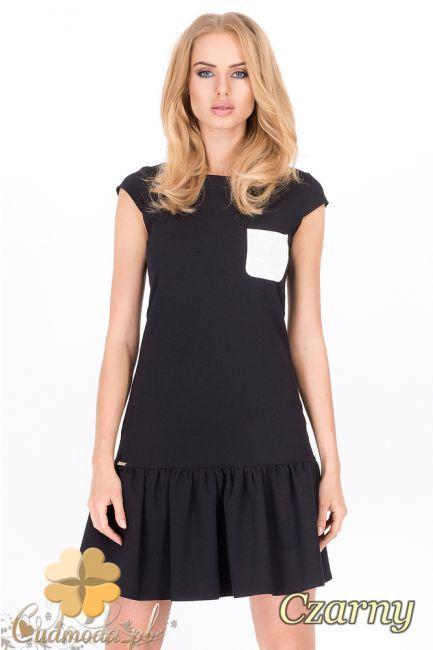 Sukienka damska długości mini z falbanką wyprodukowana przez Makadamia.  #cudmoda #moda #styl #ubrania #odzież #clothes #sukienki #dresses #dress #women #fashion #glamour