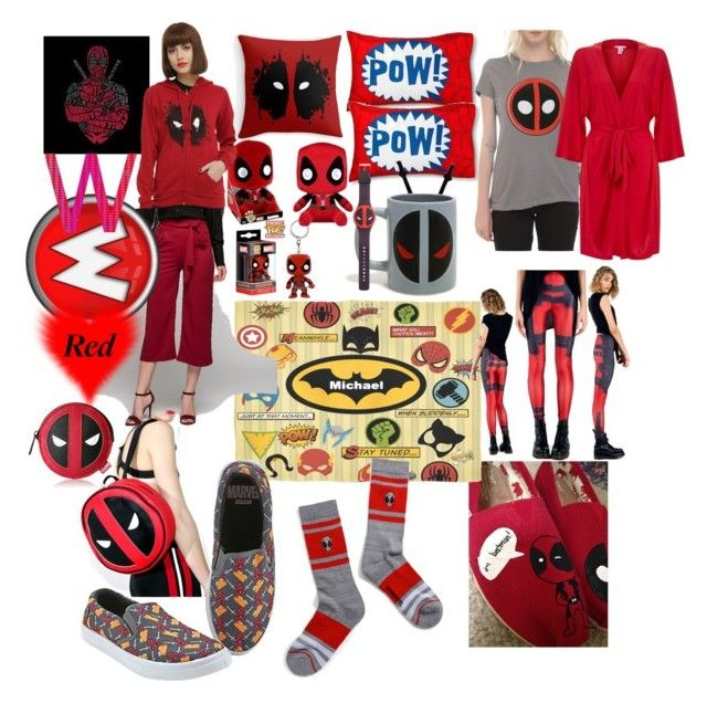 """""""So much red"""" by lerp ❤ liked on Polyvore featuring TOMS, Disney, Funko, Loungefly, Marvel, Hot Topic, Eberjey and Samsung"""
