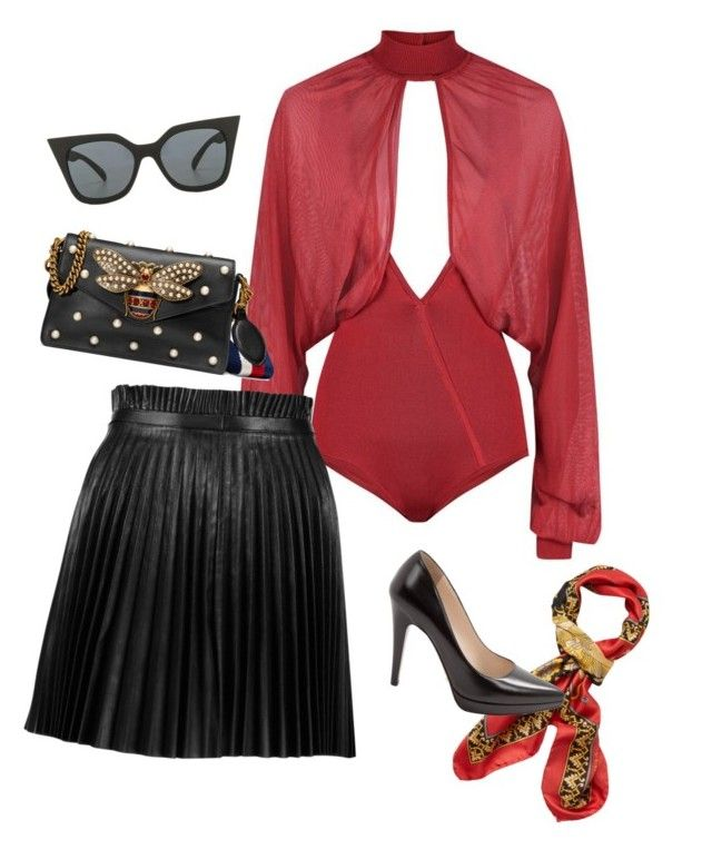 """""""u"""" by holaallyy on Polyvore featuring Balmain, RED Valentino, Gucci, Versace, Prada and Quay"""