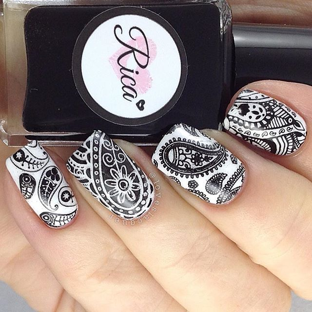 Lovely stamped nail art by @loveslacquer on Instagram using Messy Mansion Nail Stamping Plate MM48