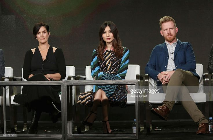 Actors Carrie-Anne Moss, Gemma Chan, Tom Goodman-Hill speak onstage during the AMC presentation of The SON, HUMANS Season 2, Better Call Saul Season 3 on January 14, 2017 in Pasadena, California.