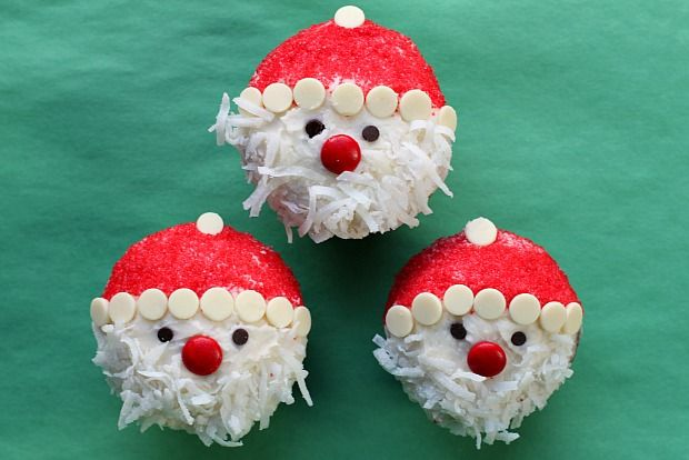 Make Christmas dessert a breeze with these easy Santa Claus cupcakes. Kids will enjoy assembling them, too.