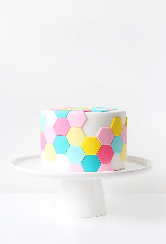 DIY Pastel Hexagon Tile Cake