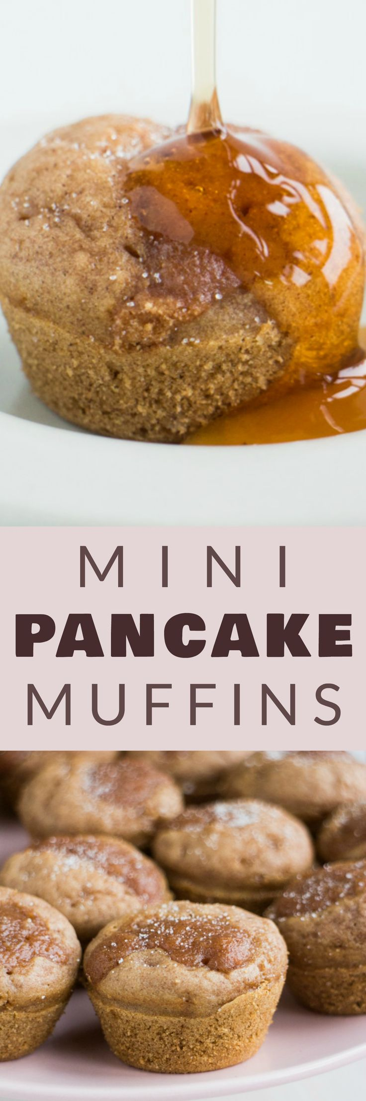 You'll love this EASY Dairy Free Mini Pancake Muffins recipe! These pancake muffins don't require butter or milk and are perfect for breakfast or snacking! Each muffin has a sugar mixture crumble made with brown sugar and applesauce on top! I love serving them with maple syrup! This recipe is easy to make completely vegan too!