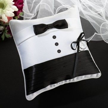 Tuxedo Ring Pillow #uniqueringpillows #ringbearerpillows #ringpillows #adorableringpillows www.MarilynsKeepsakes.com
