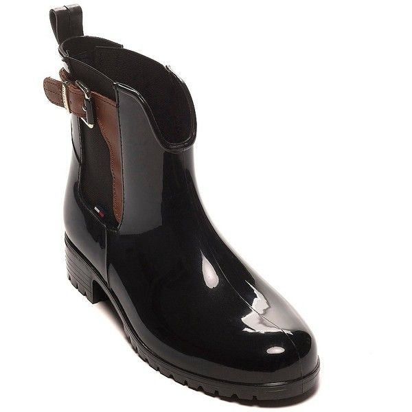 Tommy Hilfiger Glisten Rain Boot (9650 RSD) found on Polyvore featuring shoes, boots, tommy hilfiger shoes, round toe boots, tommy hilfiger boots, cocktail shoes and shiny boots