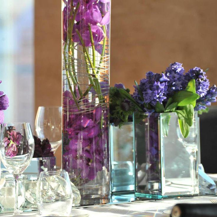 Floating flowers. Purple. For more event flower designs please go to www.naomijones.com.au.