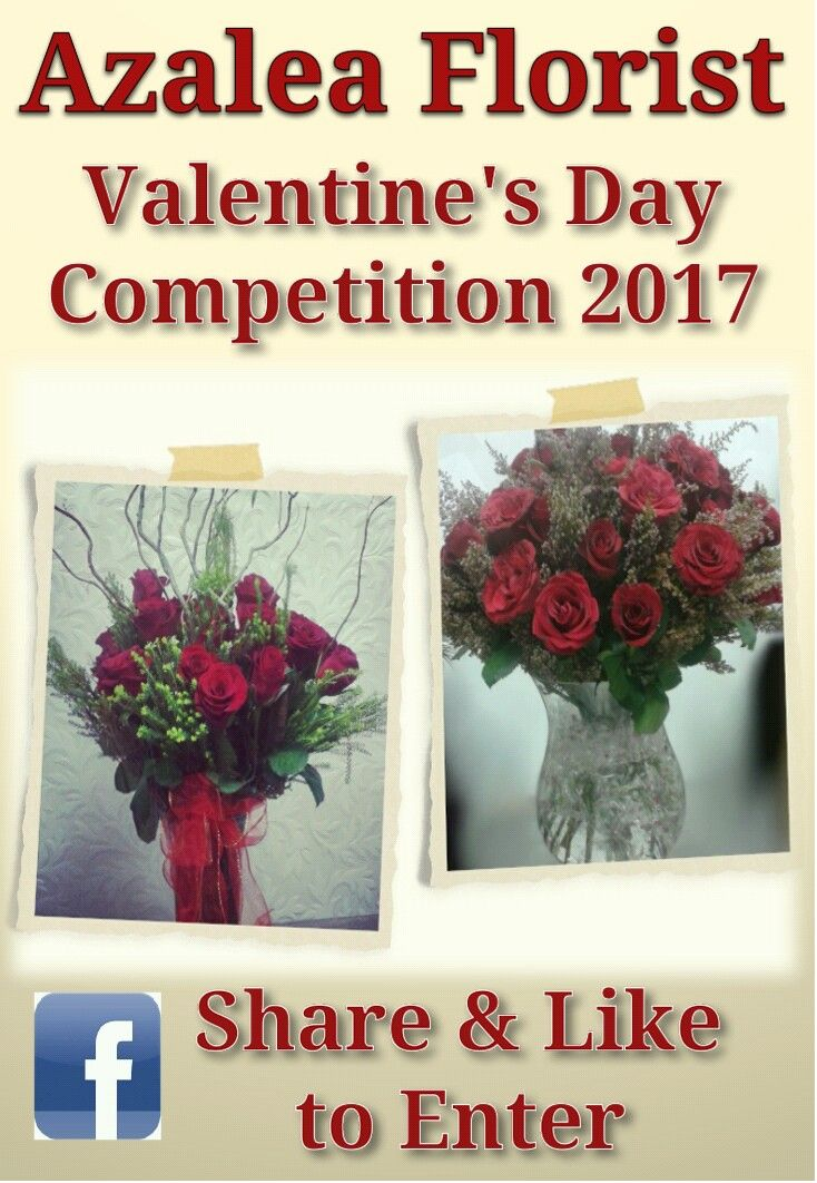 Hi everybody.... It's that time of the year again when we run our annual Valentine's Day Competition. Please feel free to enter the Azalea Florist - Valentine's Day Competition 2017 on facebook.  Win a floral bouquet to the value of R250. Good luck to all entries from all of us at Azalea Florist. www.facebook.com@AzaleaFloristValentinesCompetition2017