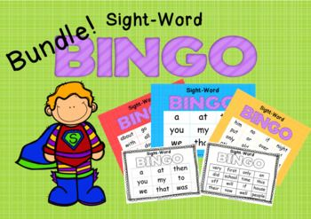 This bundle contains 3 different sets of Sight-Word Bingo, each varying in difficulty.  Each set comes with 30 different player boards so it can be played by the whole class or used in literacy stations by your groups. The cards come in both color and black & white.