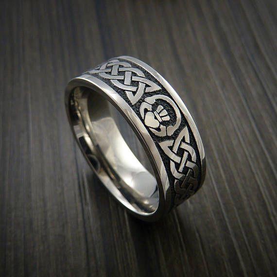 Titanium Celtic Irish Claddagh Ring Carved Hands Clasping Etsy Irish Ring Claddagh Claddagh Rings Claddagh