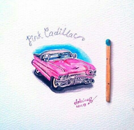Classic Pink Cadillac  Miniature Watercolor by Lalaine Garcia 101117 #nanoart #tinyart #miniaturewatercolor #lalainegarcia