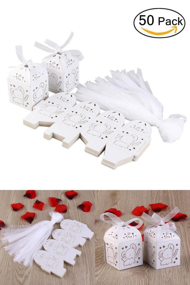 Out Elephant Pattern Candy Boxes Gift Bags Baby Shower Wedding Favors (White) #TINKSKY