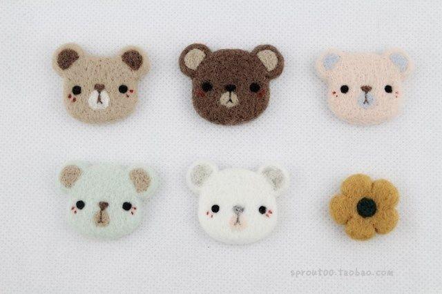 SPROUT原創手工羊毛氈小熊餅幹軟軟花朵 胸針/戒指/掛飾-萌-多款-淘寶網