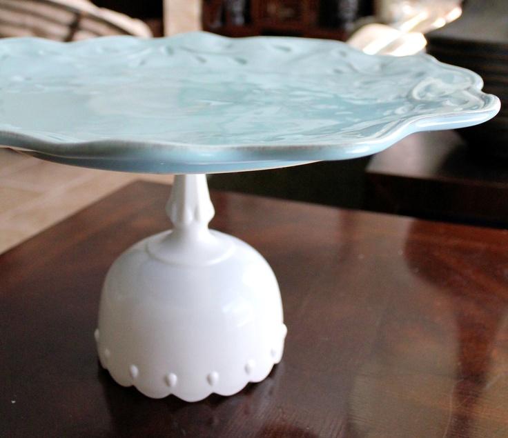 """16"""" Wedding Cake Stand Pedestal Cake Plate Pedestal / Ceramic Cake Stand Cake Dish / Cupcake Stand Pedestal / Pastel Aqua Blue Dessert Stand. $120.00, via Etsy."""