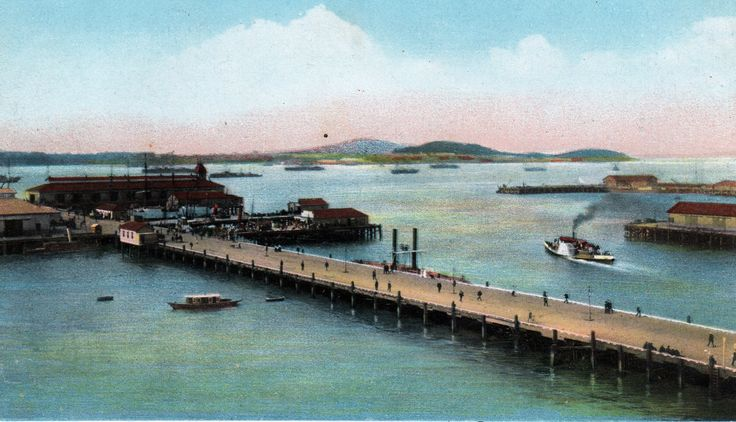 View from Auckland Wharves. Postcard by B. B. London. Series ~ No. 013. Printed in Germany.