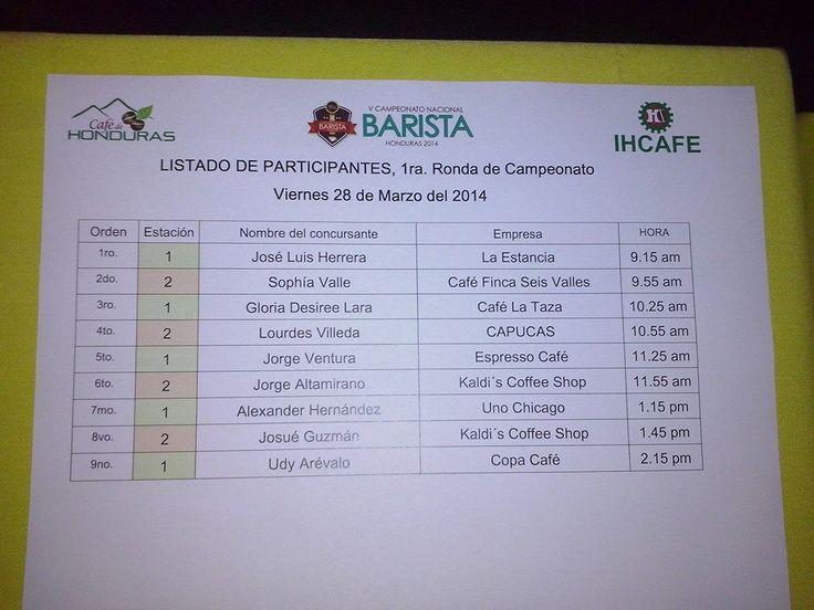 Orden de Competidores en el V Campeonato Nacional de Baristas en el Casino Copaneco en Santa Rosa de Copan Mucha suerte a todos! Invitados a venir hoy!