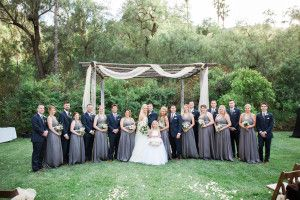 Pewter Bridesmaid dresses and Navy Tuxedos at the Bandy Canyon Ranch   #sweetblossomweddings
