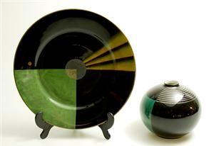 Lot: 1572101 Nora Gulbrandsen (1894-1978) for Porsgrund Porselen, fat og vase, 1930-tallet (2)