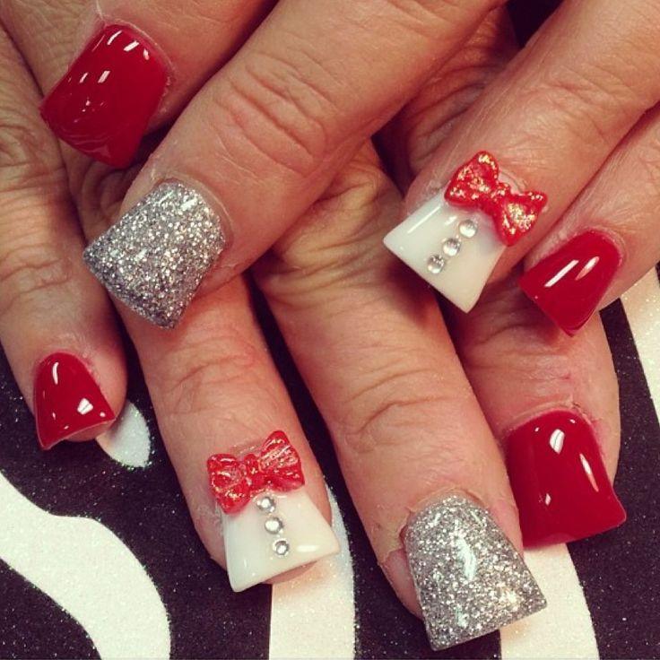 Red acrylic nail art #3dnails