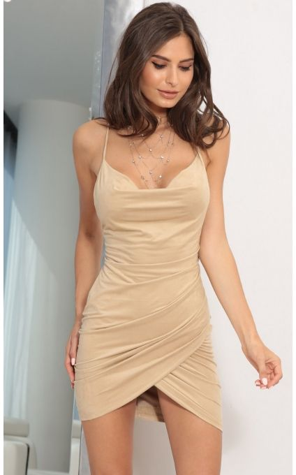 Party dresses > Suede Tulip Dress In Beige