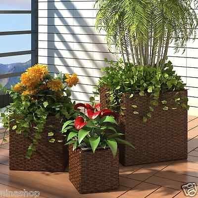 Garden Square Rattan Planter Balcony Porch Flower Pot Wicker Set 3 pcs Brown New