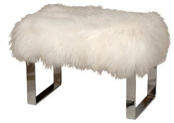 love this lamb and chrome bench