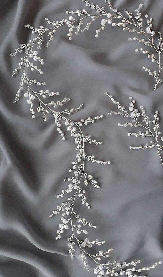 Wedding Hair Vine Bridal Hair Accessory Pearls and Crystals | Etsy