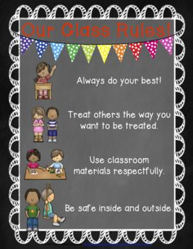 FREE Responsive Classroom Management Poster in Chalkboard classroom: Our Class Rules. Great back to school item to hang on your classroom walls or make copies for students and parents! First six weeks of school and all year long! Now in chalkboard backgrounds!  Responsive Classroom philosophy uses: *safety *how we treat each other *how we treat our classroom *how we do our work This is great to use as a start-up list, as review, or in special