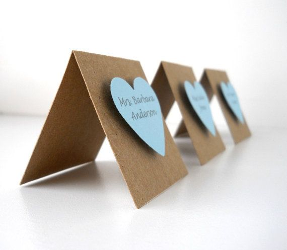 50 Raised Heart Place Cards  Pick your heart colors by LBCpaper