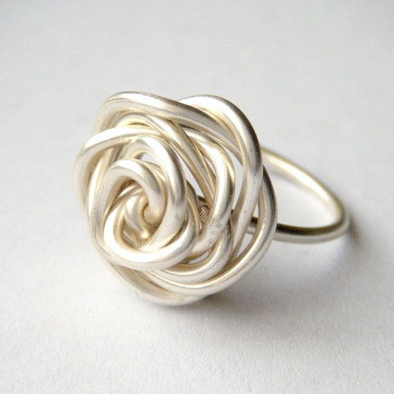Silver Rose Ring  Wire Wrap Ring