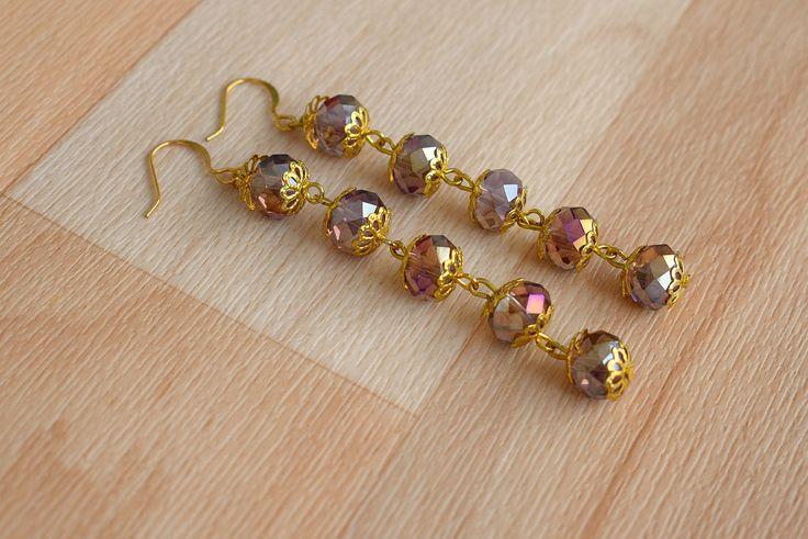 Purple Faceted Earrings - Long Dangle Earrings - Glass Bead Jewelry - Iridescent Earrings - Sparkly Drop Earrings - Wedding Jewelry by SkadiJewelry on Etsy