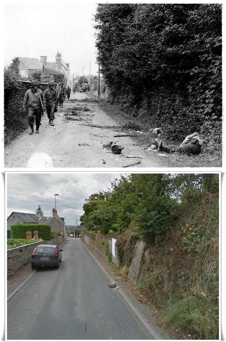 Una pattuglia americana transita in Saint-Lô , Rue du Chêne Dancel  sparsi sul terreno due   granatieri Tedeschi #NORMANDIA1944