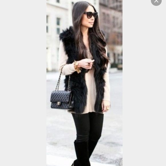 Black Fur Vest Never worn brand new black fur vest. Super super soft! NOT ZARA. Pictures 1 & 2 are for styling purposes only. Zara Jackets & Coats Vests
