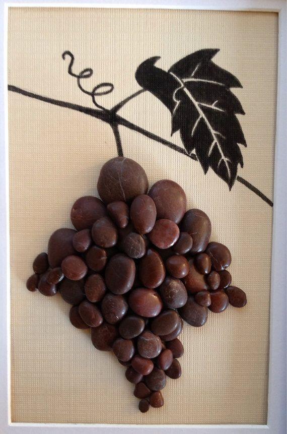 Pebble art grapevine wine wall decor home by EmilysNatureEmporium